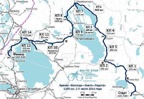 Verlauf  der 1200km Route Brevet Vologda‐Onego‐Ladoga